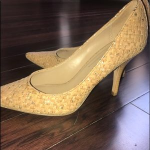 Donald J. Pliner pointed straw basket weave heels